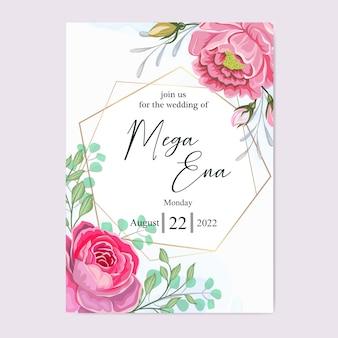 Hochzeitseinladung mit schönen blumen blätter gesetzt