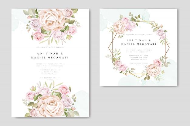 Hochzeitseinladung mit schönen blumen und blättern gesetzt