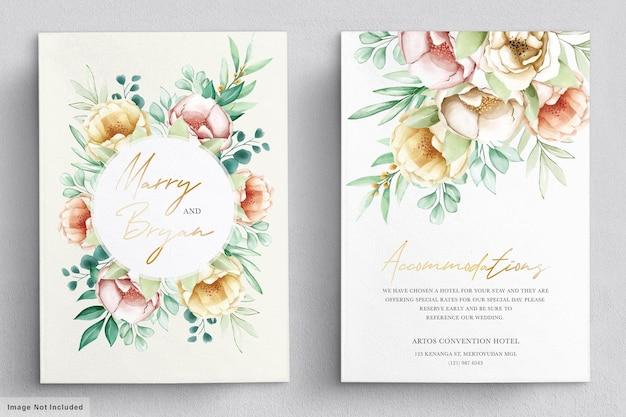 Hochzeitseinladung mit schönen blumensträußen und kranzaquarellsatz