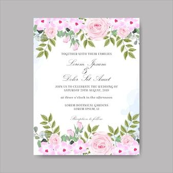 Hochzeitseinladung mit schönen hand gezeichneten blumen