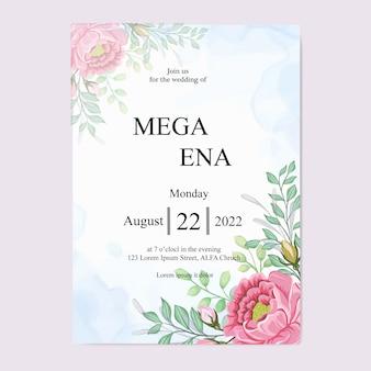 Hochzeitseinladung mit schönen rosa blumen und blättern
