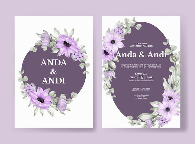Hochzeitseinladung mit schönen weichen lila blume und blättern gesetzt