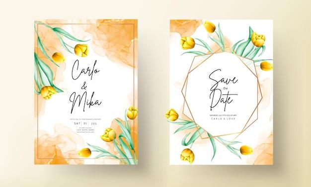 Hochzeitseinladung mit schöner gelber aquarelltulpenblume