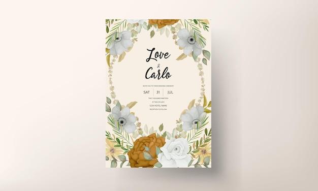 Hochzeitseinladung mit schöner herbstblume