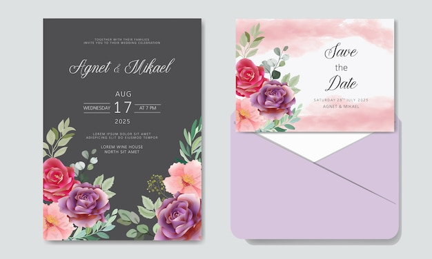 Hochzeitseinladung mit schönheit und luxusblumen