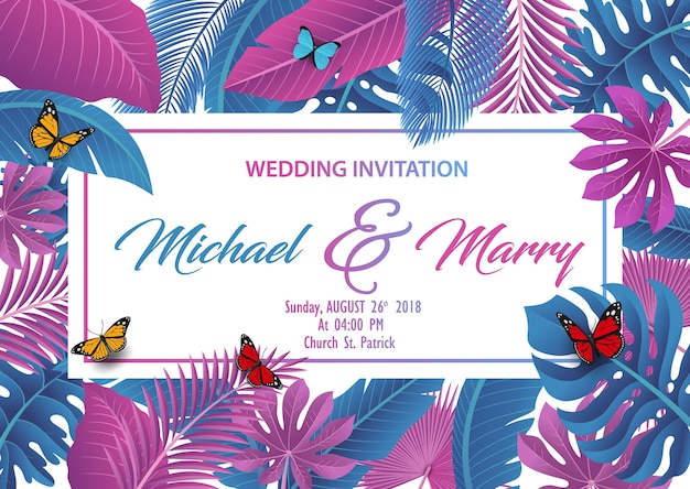 Hochzeitseinladung mit tropischem blattkonzept