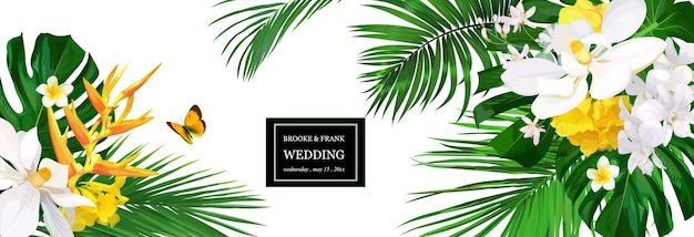 Hochzeitseinladung mit tropischen blumen, orchideen, magnolien und palmen, monstera-blättern