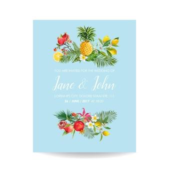 Hochzeitseinladung mit tropischen früchten und palmblättern