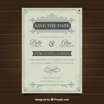 Hochzeitseinladung mit verzierungen in der weinleseart
