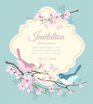 Hochzeitseinladung mit vögeln und blühenden zweigen. blumenfrühling, blumen und event. vektorillustration