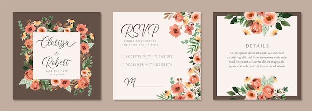 Hochzeitseinladung mit weinleseblumenaquarell