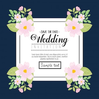Hochzeitseinladung mit weißen blumen und blättern