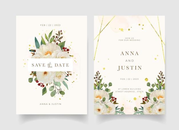 Hochzeitseinladung mit weißer rose und pfingstrosenblume des aquarells