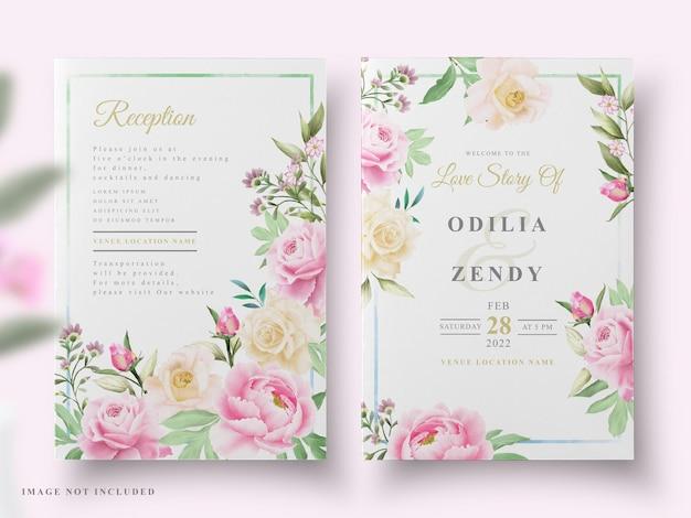 Hochzeitseinladung schönes blumenaquarell
