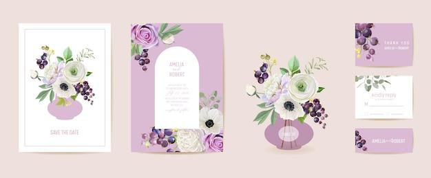 Hochzeitseinladung schwarze johannisbeeren, anemone, pfingstrose, rosenblüten, blattkarte. beere aquarell vorlage vektor. botanisches save the date modernes poster, trendiges design, luxuriöser hintergrund