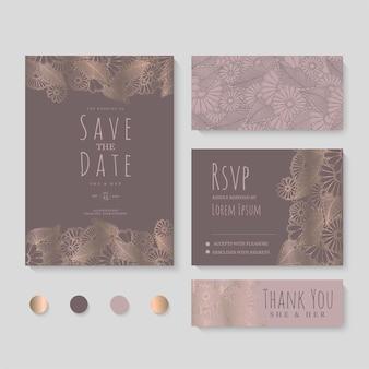 Hochzeitseinladung, speichern sie das datum. designvorlage. Kostenlosen Vektoren