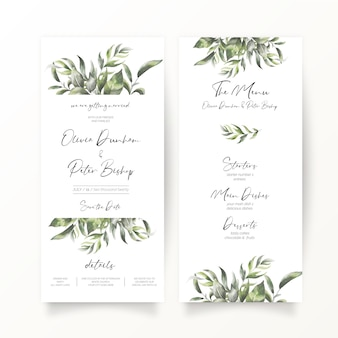 Hochzeitseinladung und menüvorlage im dl-format
