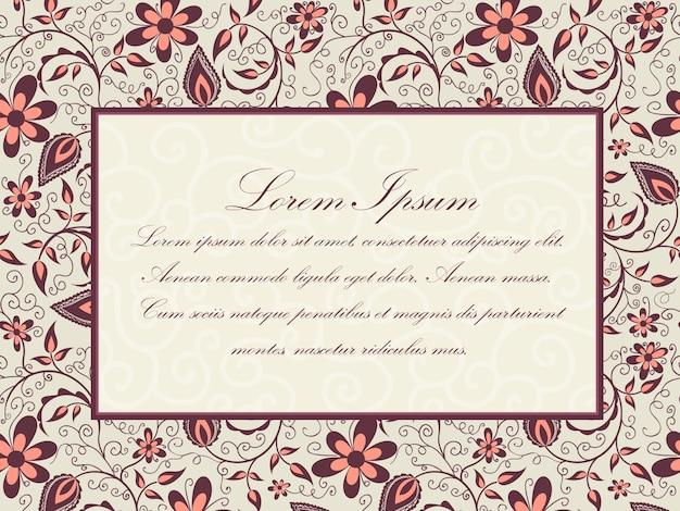 Hochzeitseinladung und mitteilungskarte mit blumenhintergrundgrafik. elegant verzierten floralen hintergrund. floral background und elegante blumenelemente. designvorlage.