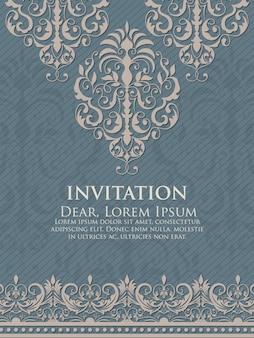 Hochzeitseinladung und -mitteilungskarte mit weinlesehintergrundgrafik