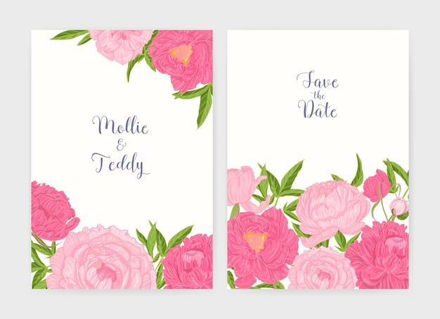 Hochzeitseinladung und save the date-kartenvorlagen, verziert mit zarten blühenden rosa pfingstrosenblumen