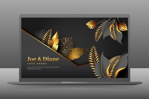 Hochzeitseinladung wallpaper auf laptop-bildschirm Premium Vektoren