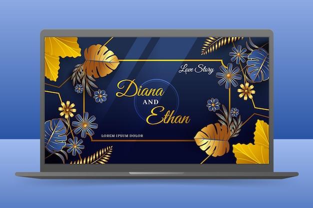 Hochzeitseinladung wallpaper auf laptop-bildschirm Kostenlosen Vektoren