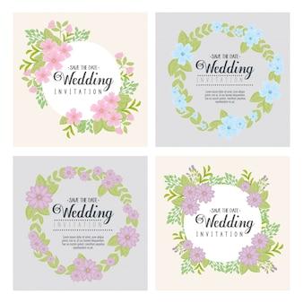 Hochzeitseinladungen, die mit blumen- und blattentwurf gesetzt werden, speichern das datums- und verlobungsthema vektorillustration