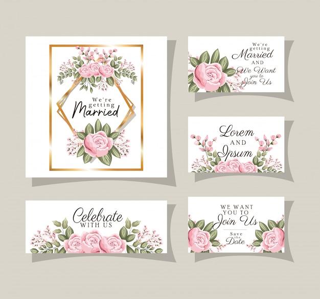 Hochzeitseinladungen eingestellt mit goldverzierungsrahmen und rosenblumen mit blättern