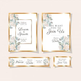 Hochzeitseinladungen gesetzt mit goldverzierungsrahmen und weißen blumen mit blättern