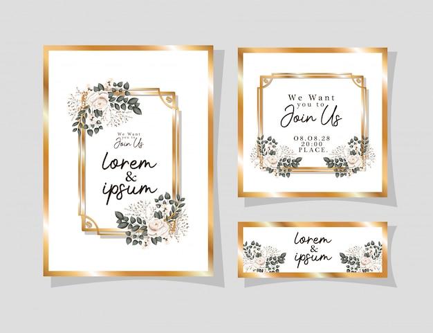 Hochzeitseinladungen gesetzt mit goldverzierungsrahmen und weißen rosenblumen mit blättern