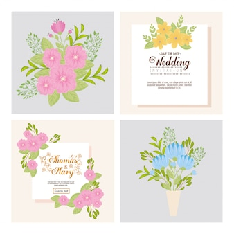 Hochzeitseinladungen mit blumen und blättern eingestellt