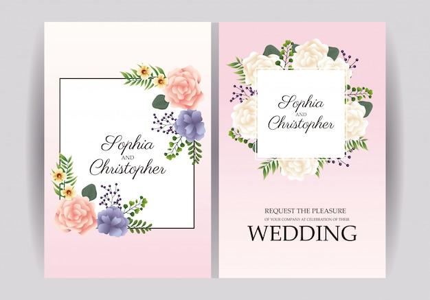 Hochzeitseinladungen mit blumenrahmen