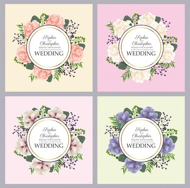 Hochzeitseinladungen mit floralen runden rahmen