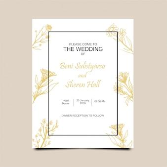 Hochzeitseinladungen mit goldenen blumenmotiven