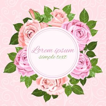 Hochzeitseinladungen mit rosa und beigem rosenkranz und rundem rahmen