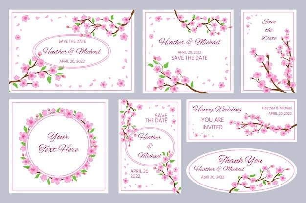 Hochzeitseinladungen und grußkarten mit kirschblütenblüten. japan-kirschbaumzweige und rosa blütenblätter rahmen und grenzen-vektorsatz