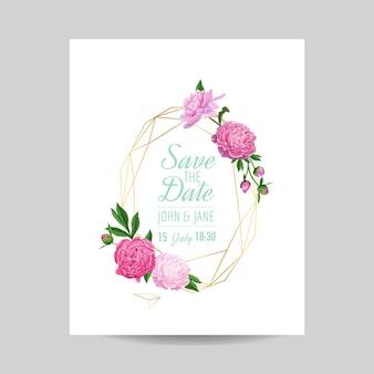 Hochzeitseinladungs-blumenschablone mit rosa pfingstrosen. speichern sie den geometrischen goldenen datumsrahmen mit blumen und platz für ihren text. grußkarte, poster, banner. vektor-illustration