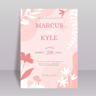 Hochzeitseinladungs-designschablone mit botanischer illustration