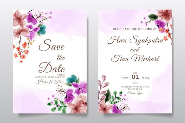 Hochzeitseinladungs-grußkarte mit aquarellblume