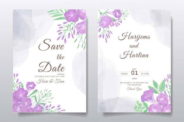 Hochzeitseinladungs-grußkarte mit aquarellblumen- oder blattentwurf