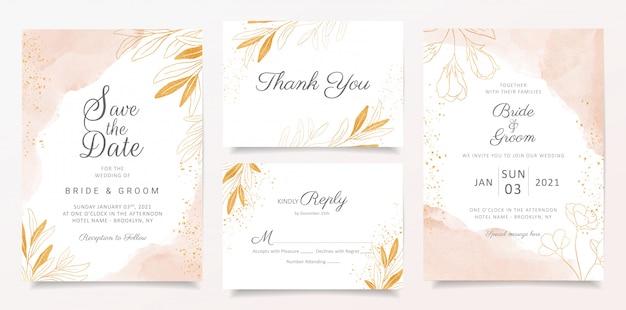 Hochzeitseinladungs-kartenschablone des aquarells sahnige stellte mit goldener blumendekoration ein.