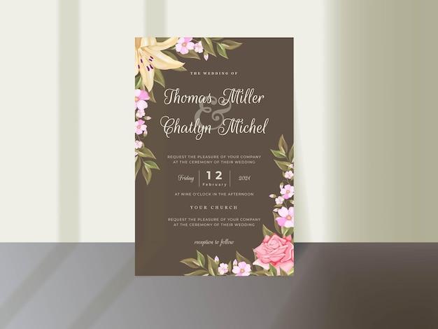 Hochzeitseinladungs-kartenschablonendesign mit blumen und blättern