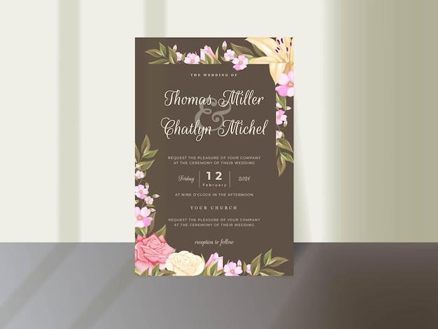 Hochzeitseinladungs-kartenschablonendesign mit rosen und blättern