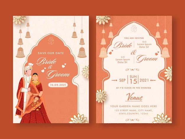 Hochzeitseinladungs-schablonen-layout mit indischem paar-bild in der weißen und orange farbe.