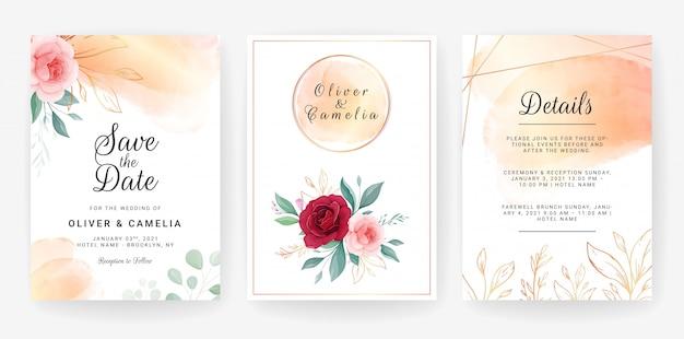 Hochzeitseinladungs-schablonendesign von eleganten rosafarbenen blumen und von umrissenen goldblättern mit aquarell