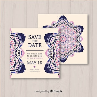 Hochzeitseinladungs-schablonenmandala-konzept