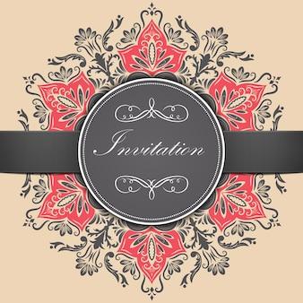 Hochzeitseinladungs- und ankündigungskarte mit ornamentalen runden spitzen mit arabeskenelementen. mehndi-stil. orient traditionelle verzierung. zentangle-like runde farbige blumen ornament.