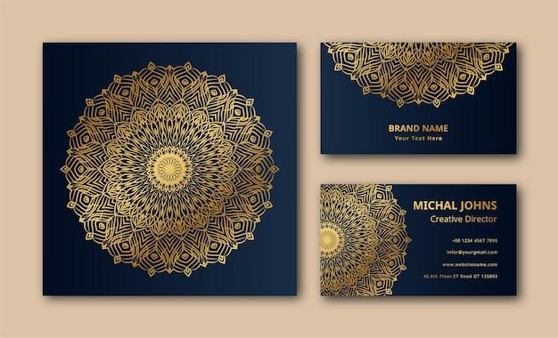 Hochzeitseinladungs-visitenkarte mit mandala-design eps