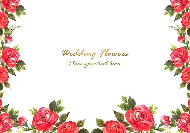 Hochzeitseinladungsaquarell blüht kartenhintergrund
