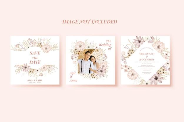 Hochzeitseinladungsblume weich für social-media-post-design-vorlage